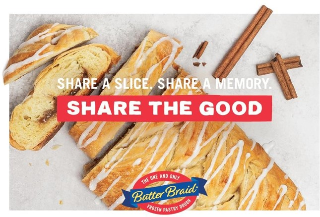 Fundraising Tool Kit - Butter Braid Cinnamon pastry with Share the Good and logo